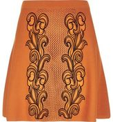 River Island Womens Orange knit embroidered skirt