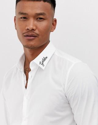 Devils Advocate slim fit embroidered collar golden shirt