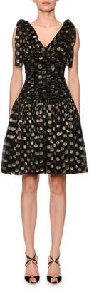 Dolce & Gabbana Flutter-Sleeve Fil Coupe Dot Chiffon Dress