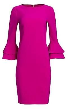 Teri Jon by Rickie Freeman Women's Tiered Bell Sleeve Crepe Dress