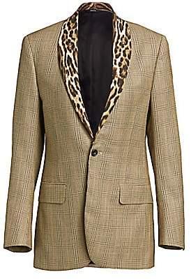 R 13 Women's Leopard Shawl Lapel Plaid Tuxedo Jacket