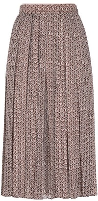 Fendi Floating Petal-Print Silk Chiffon Midi Skirt