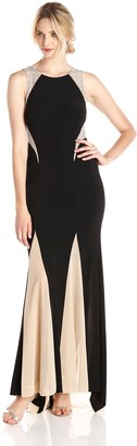 Xscape Evenings Women's Sleeveless Gown with Illusion Insets
