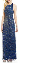 Adrianna Papell Radiating Beaded Halter Gown