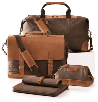 Mark & Graham Beckett Waxed Canvas and Leather Messenger Briefcase