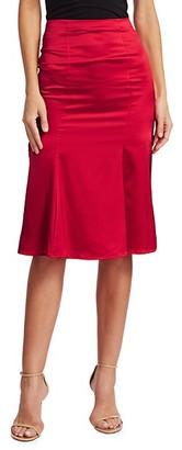 Caroline Constas Blaise Pleated Silk-Blend Skirt