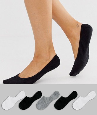 ASOS DESIGN 5 pack invisible socks with back grip band detail in black white and gray