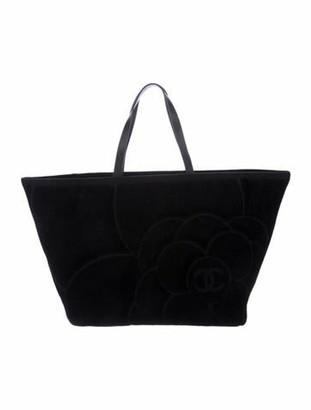 Chanel Camellia Beach Tote Black