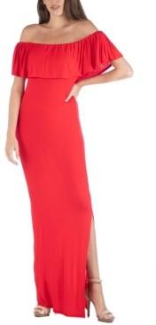 24seven Comfort Apparel Off Shoulder Ruffle Detail Maxi Dress
