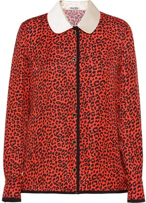 Miu Miu Contrast-Collar Leopard-Print Shirt