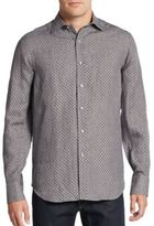 Saks Fifth Avenue Printed Linen Sport Shirt