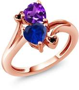 Gem Stone King 1.48 Ct Heart Shape Blue Simulated Sapphire Purple Amethyst 14K Rose Gold Ring