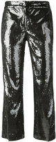 No.21 sequinned cropped trousers - women - Silk/Polyester - 38