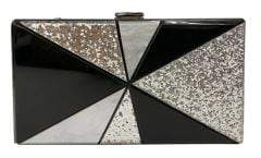 Sondra Roberts Geometric Embellished Faux Leather Convertible Clutch