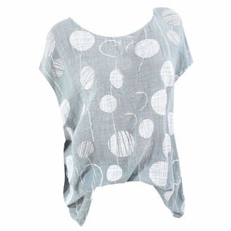 Tuduz Blouse Women Blouse TUDUZ Ladies Plus Size Loose Polka Dot Print Long Sleeve Casual Shirt Tops(Y Gray M=UK(12))