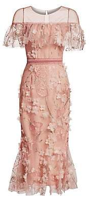 Marchesa Women's Off-The-Shoulder Floral Illusion Sheath Dress
