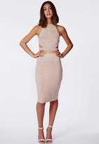 Missguided Berryana Faux Suede Midi Skirt Taupe