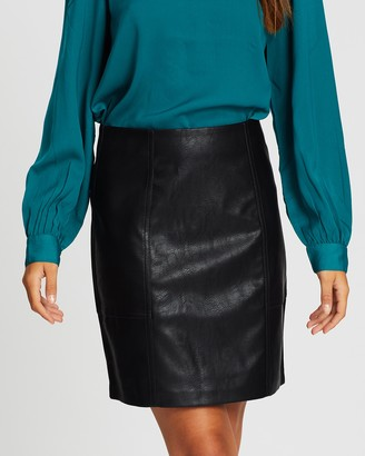 Only Sky Faux Leather Skirt