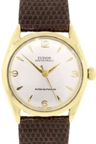 Tudor 7965 Gold Shell Oyster Prince on Brown Leather Watch