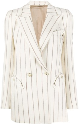 BLAZÉ MILANO Striped Double Breasted Blazer