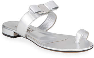 Salvatore Ferragamo Louisa Toe-Ring Metallic Bow Sandals