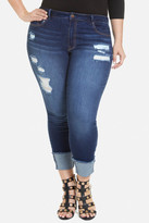 Fashion to Figure Cuffed Crop Destructed Jeans