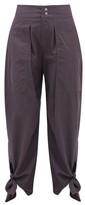 Isabel Marant Gavio Cotton-canvas High-rise Trousers - Womens - Dark Navy