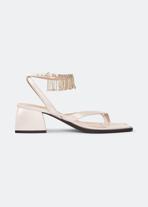 Nodaleto 45mm Bulla Arushi Metallic Fringe Block-Heel Sandals