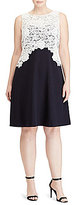 Lauren Ralph Lauren Plus Bateau Neck Sleeveless Lace-Bodice Crepe Dress