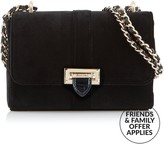 Aspinal of London Lottie Velvet Cross-body Bag- Black