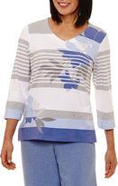 Alfred Dunner Long Weekend 3/4 Sleeve V Neck T-Shirt-Womens