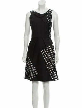Roland Mouret Asymmetrical Pattern Dress Black