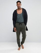 Asos Loungewear Skinny Joggers In Khaki With Double Waistband