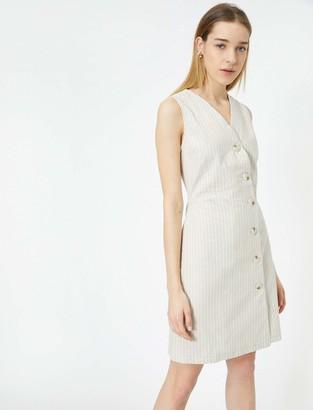 Koton Women's Leinen Kleid Business Casual Dress