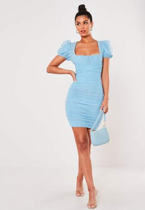 Missguided Blue Mesh Ruched Puff Sleeve Mini Dress