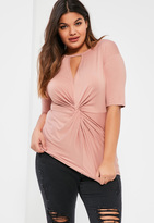 Missguided Plus Size Pink Knot Front T-Shirt