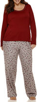 Liz Claiborne Long-Sleeve Knit Top and Flannel Pants Pajama Set - Plus