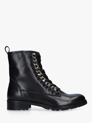 Carvela Saviour Leather Chain Detail Biker Boots, Black