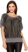 Quiz Black And Grey Stripe Batwing Top