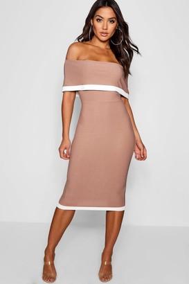 boohoo Contrast Off the Shoulder Midi Dress