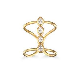 Satya Jewelry White Topaz Petal Ring Adjustable