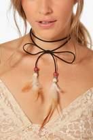 boohoo Freya Festival Feather Tie Cord Choker black