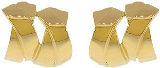 Verdura 18kt yellow gold double X clip earrings