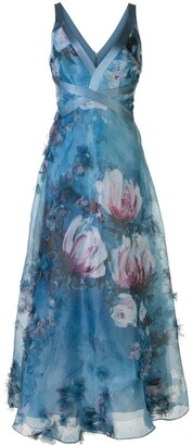 Marchesa v-neck floral print effect dress