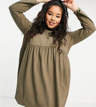 Brave Soul Plus Lizzie high neck smock dress in khaki
