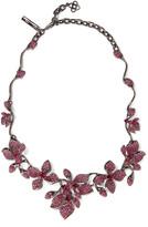 Oscar de la Renta Gunmetal-tone crystal necklace