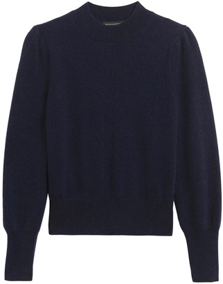 Banana Republic Cashmere Cropped Puff-Sleeve Sweater