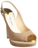 Jimmy Choo nude suede and gold leather 'Frosting' slingback pumps