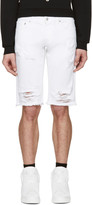 Versus White Denim Ripped Shorts