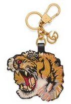 Gucci Tiger Embroidered Leather Keychain
